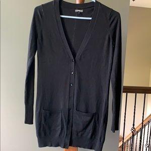 Express Black Tunic Length V-neck Cardigan Pockets